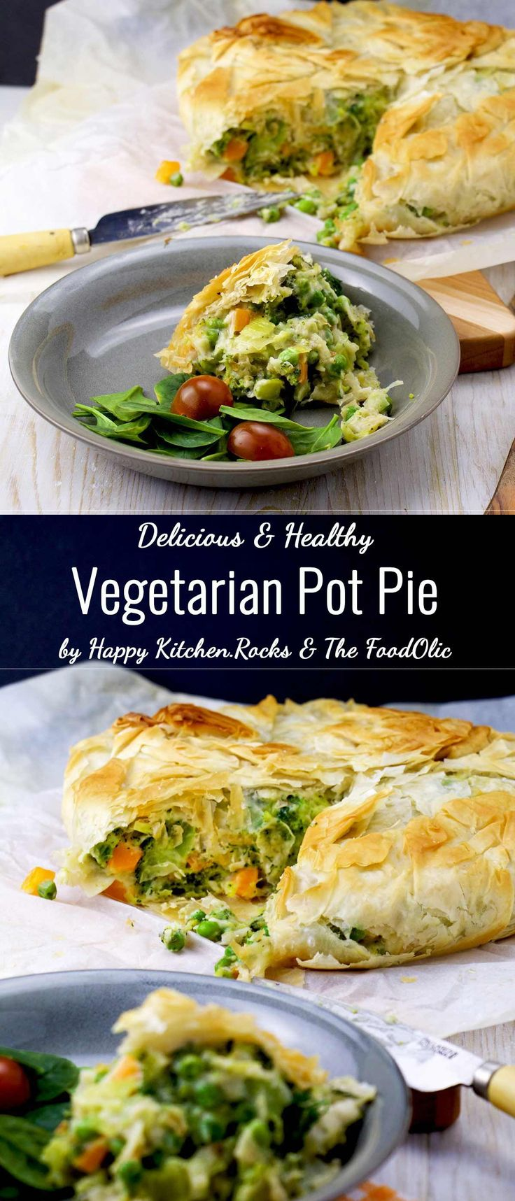 This broccoli vegetarian pot pie is a healthy variation of chicken pot pie, without the meat of course… Broccoli and almonds replace the chicken in this easy vegetarian recipe. This pot pie is filled with colourful veggies, smooth béchamel with a nutty flair, enveloped in a flaky filo crust. Comfort food at its best!