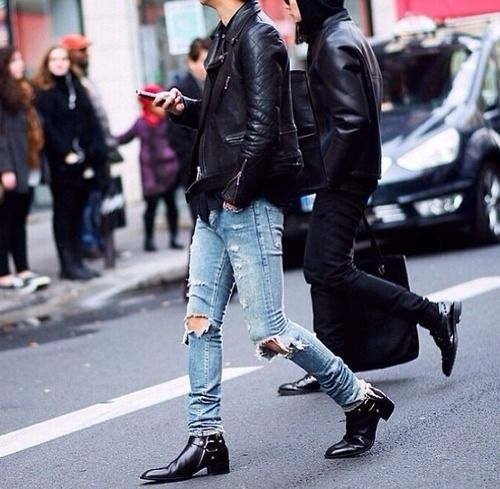Jeans boots men Style leather jacket