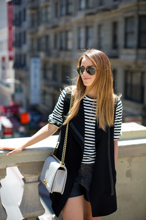 Black & white stripes are classic and oh-so versatile. For the weekend, pair them with black denim shorts and an unexpected sleeveless cardigan.