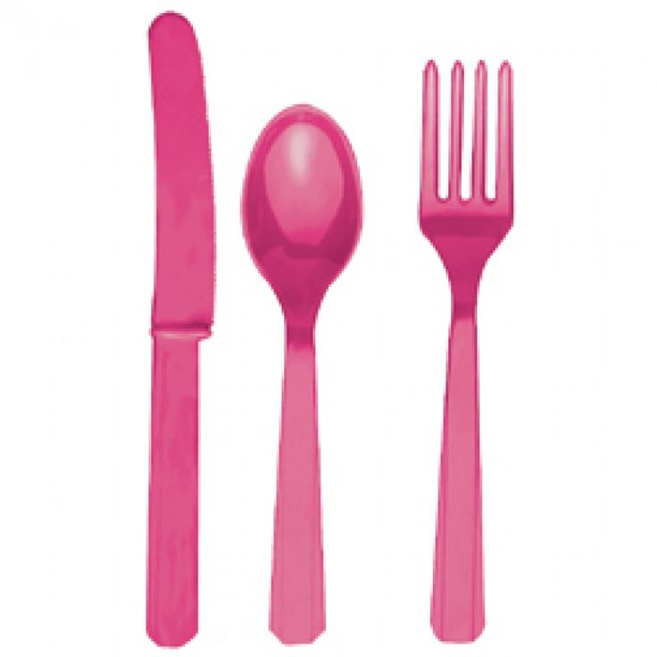 Plastic Cutlery Bright Pink #pink #party