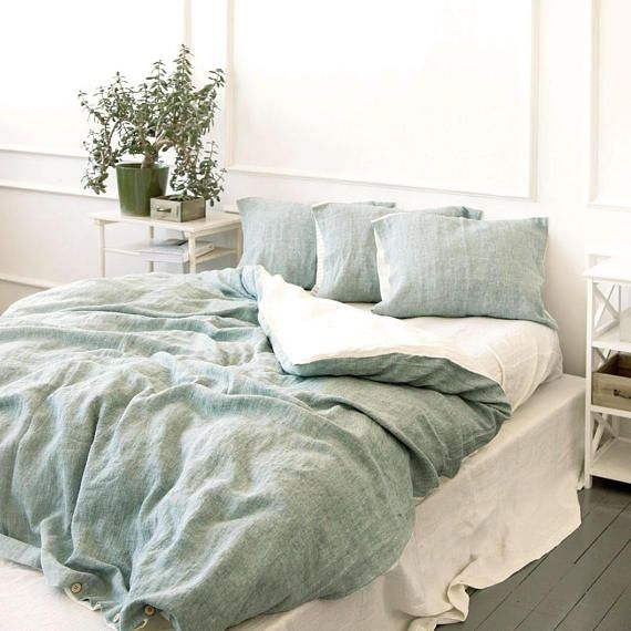 Reversible Linen Duvet Cover In Bluish Green Off White Or Etsy Green And White Bedroom Sage Green Bedroom Bedroom Interior