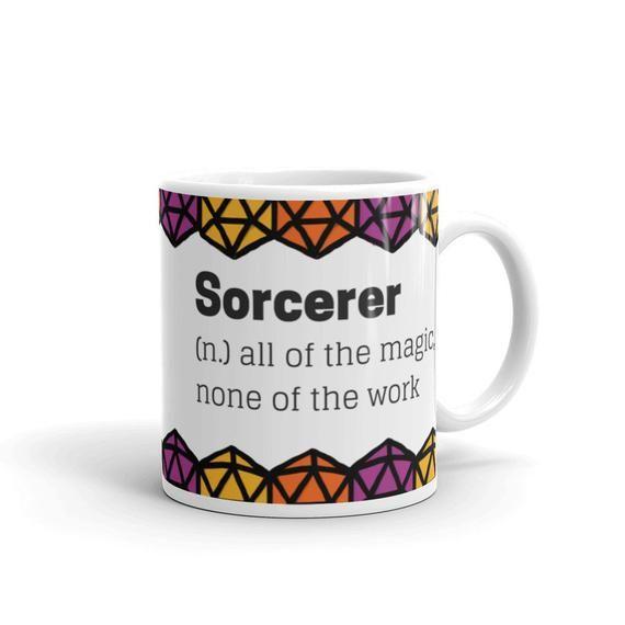 Sorcerer tabletop rpg mug, d20, dragons, geek gift, geeky girl, geek, polyhedral dice, d20 dice, rpg