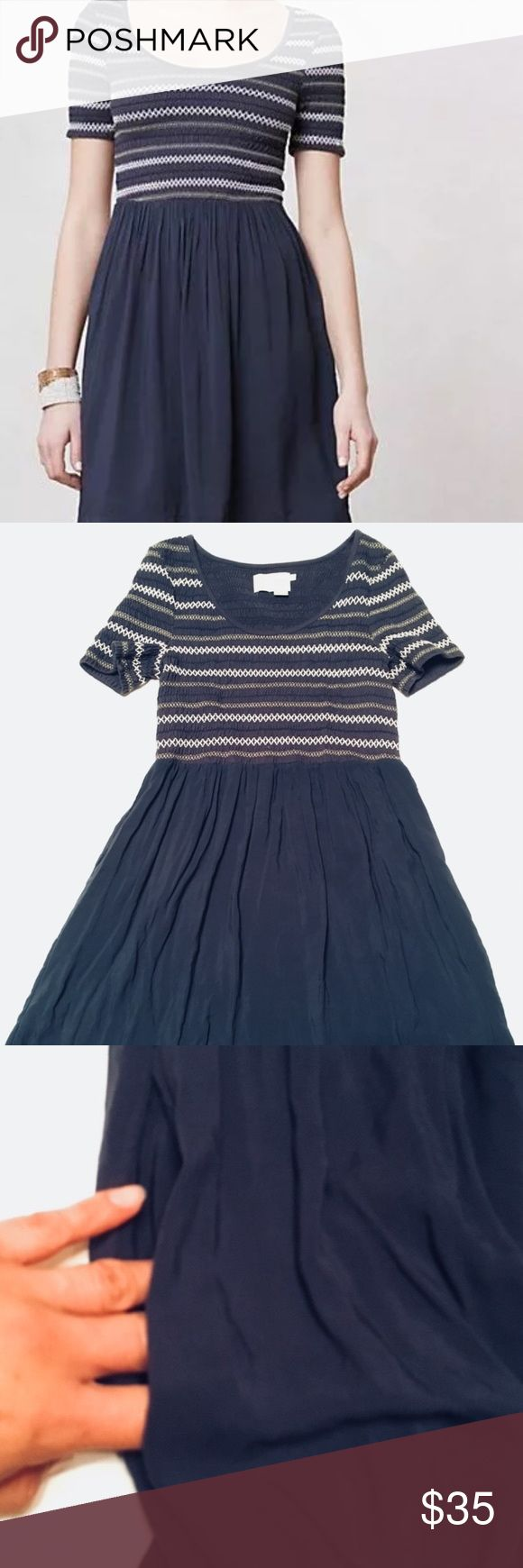 """Saturday Sunday Anthropologie Smocked Dress Excellent condition. Side pockets. Smocked stretchy top. Bust 30, length 36"""" inches long. Color is slate gray. Anthropologie Dresses Mini"""
