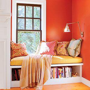window seat: Reading Area, Idea, Book Nooks, Wall Color, Book Storage, Reading Corner, Reading Nooks, Window Seats, Bays Window