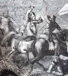 Bataille de Soissons de 923 - 54) CHARLES III LE SIMPLE: Les Robertiens hurlent leur joie vindicative sur le théâtre sanglant de la bataille et acclament RAOUL DE BOURGOGNE, autre gendre du défunt roi, comme roi et champion de guerre. La bataille est perdue à moindre frais par Charles même si RICHER et FOLCUIN le déclarent vainqueur, suivis en cela par plusieurs auteurs postérieurs.