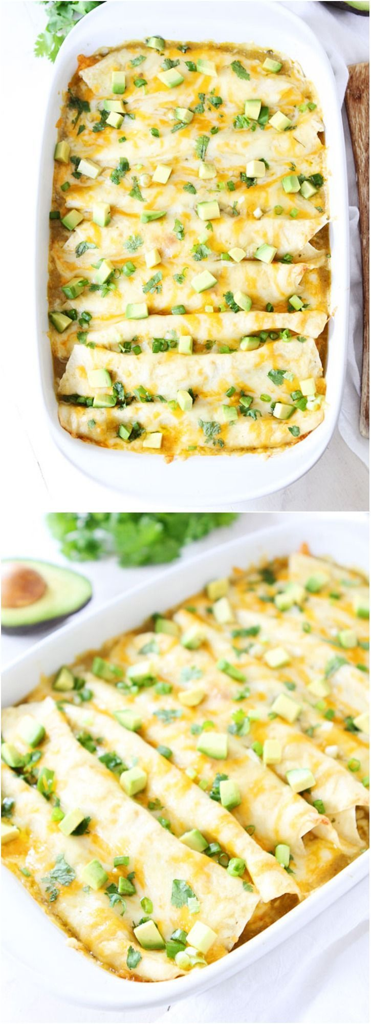 Creamy Spinach and Cheese Green Chile Enchilada Recipe on twopeasandtheirpod.com An easy weeknight meal and they freeze well too!