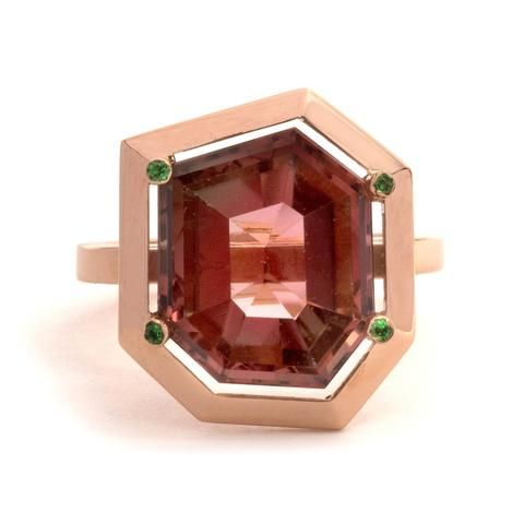 Tourmaline and Tsavorite Garnet Four Claw Elevate Ring by Melanie Katsalidis