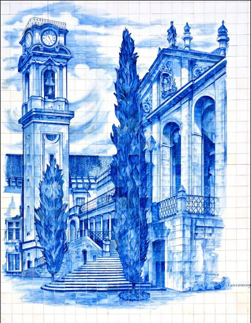 University  Blue tile mural from the streets of Coimbra, Portugal