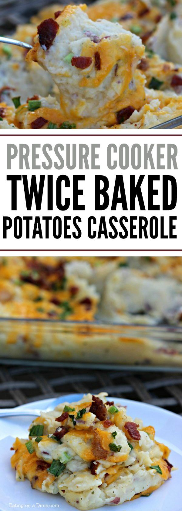 This Instant Pot Twice Baked Potatoes Casserole Recipe is amazing! It is one of our new favorite pressure cooker recipes because it saves so much time! You get all the flavor of twice baked potatoes without all the work!