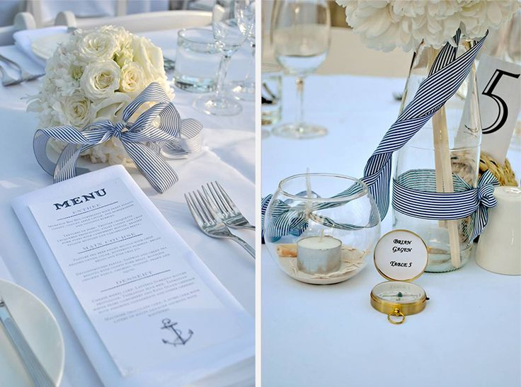 Nautical Wedding Stationery - Menu and Table Decor
