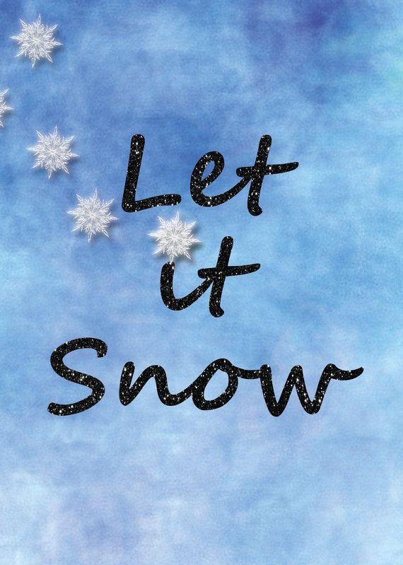 Let It Snow Print regalo di Natale blu citazione di PRINTANDPROUD