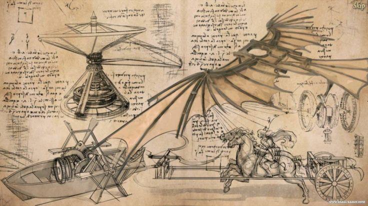 Леонардо да Винчи во Франции-Работы-Леонардо-да-Винчи-чертежи и рисунки - коллаж-иллюстрация