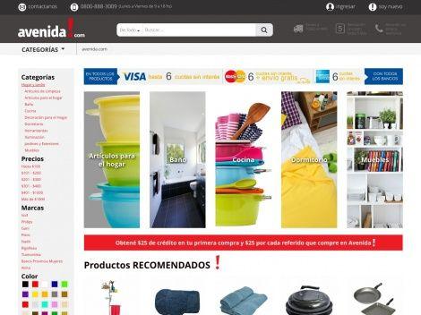 Sección de la tienda online AVENIDA! dedicada a la venta de artículos de decoración y bazar para el hogar.