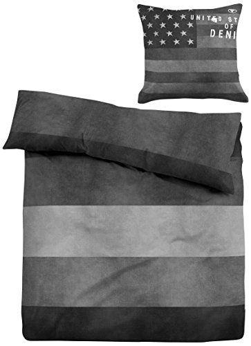 """TOM TAILOR 49467/831/001 Linon Bettwäsche Nos """"Jeans"""", 135 x 200 cm und 80 x 80 cm, nach Öko-Tex Standard 100, stone"""