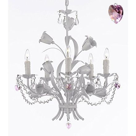 Wrought Iron Chandelier with Crystal and Pink Crystal Hearts