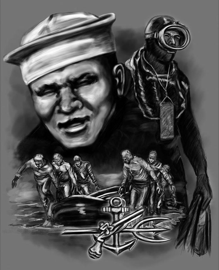 "As part of the U.S. Navy's underwater demoliton teams, which were a precursor to the current U.S. Navy SEAL Teams, Fred ""Tiz"" Morrison was the first African-American Navy SEAL/Frogman. Morrison was awarded the Bronze Star for his heroics in the Korean War as part of UDT Team 12. He's known as an expert in underwater demolitions, a  veteran of the WW II and was part of UDT Team 1 in '48. His rank is U.S. Navy Engineman 2nd Class. Nicknamed ""The Real Tarzan,"" He has since passed on."