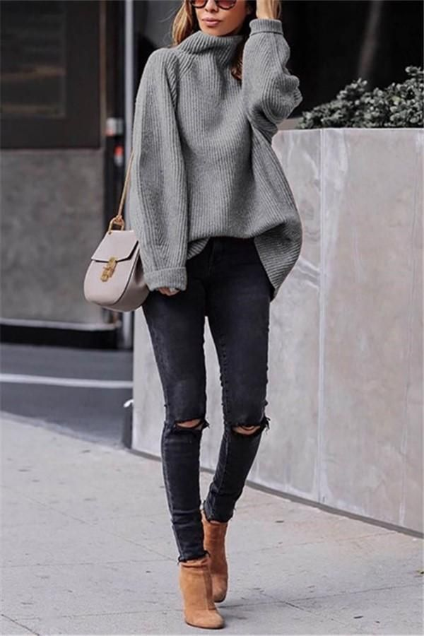 Casual Easy Turtleneck Sweater Knitted Sweater 3