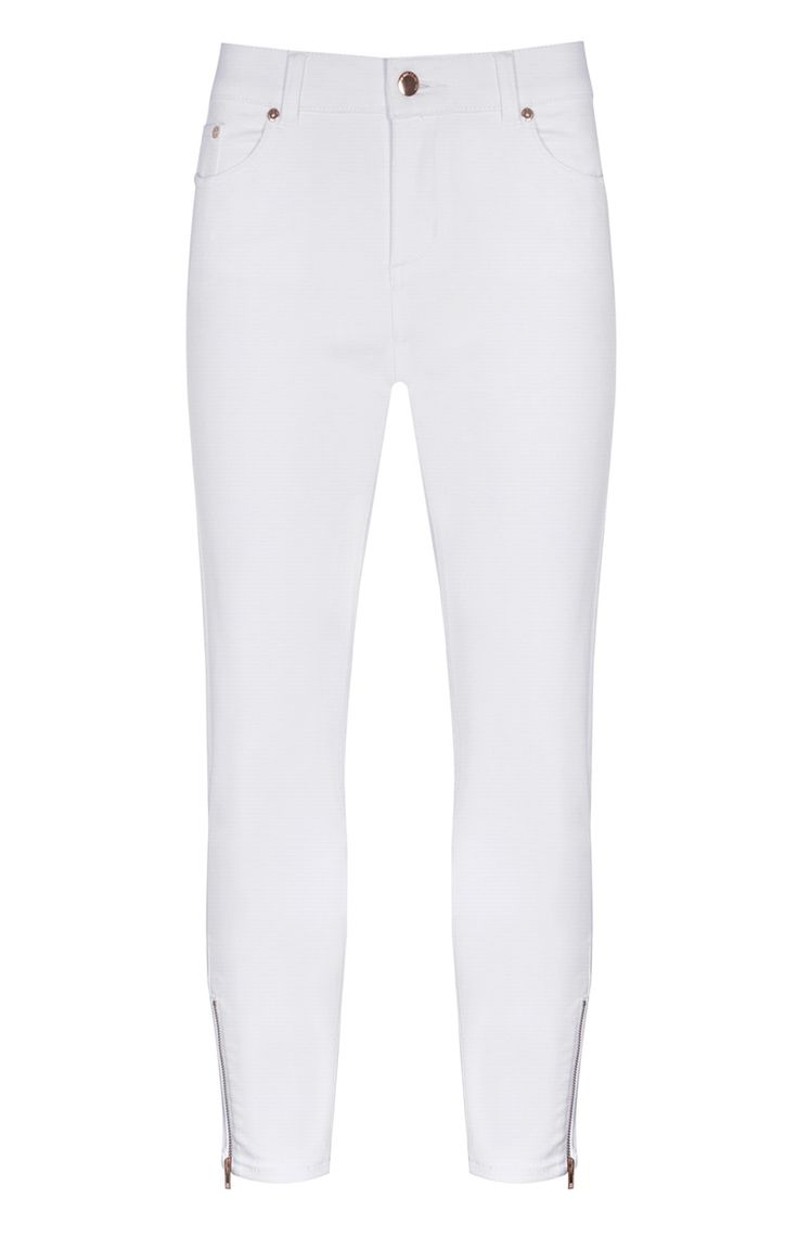Primark - Jeans tobilleros blancos con cremalleras