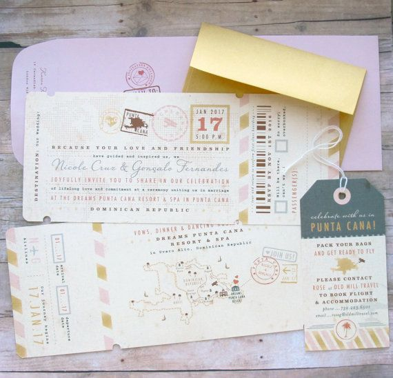 Airplane Boarding Pass Ticket Invitation with by LetterBoxInk