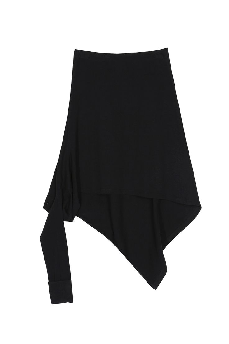 <p>Black Japanese Cotton Jersey</p><p>Japanese cotton jersey skirt, elastic waistband and deconstructed drape ...