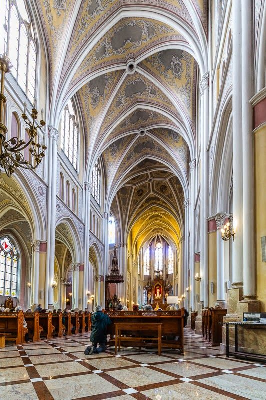 Interiors of the Protection of the Blessed Virgin Mary cathedral in Radom, Poland
