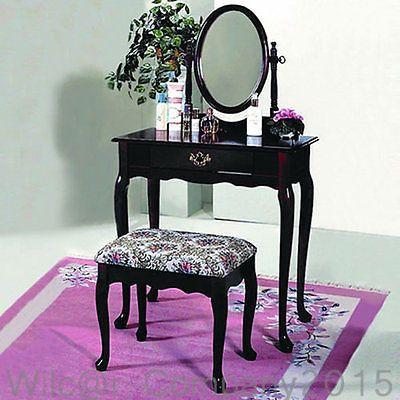 Cabriolet Cherry Wood Vanity Set Table Stool Makeup Mirror Desk Girls Bedroom