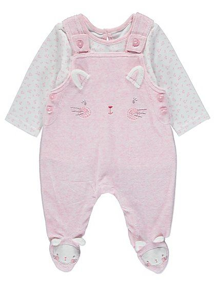 Cat Dungarees and Top Set, read reviews and buy online at George at ASDA. Shop from our latest range in Baby. With a cute cat face and 3D ears embroidered ac...