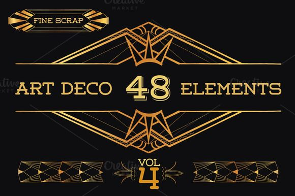 48 Hand Drawn Art Deco Elements Vol4 Hand Drawn And Graphics