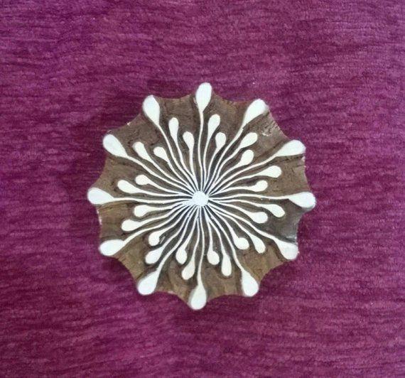 "Wood Textile Stamp Floral Blocks Hand Carved Stamp Wood Block Art 8/"" Diameter"