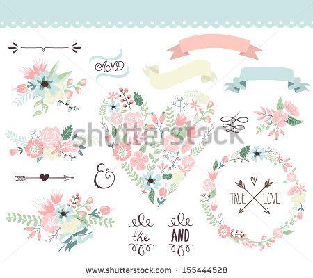 """""""Conjunto gráfico de casamento, grinalda, flores, flechas, corações, louro, fitas e etiquetas."""""""