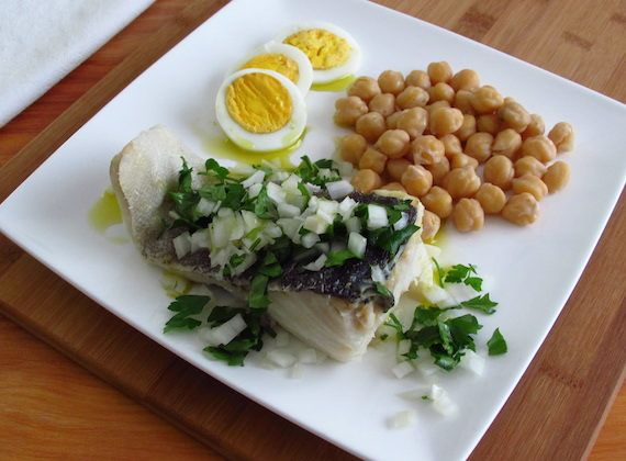 Cooked chickpeas with cod   Food From Portugal. A typical Portuguese cod recipe, very nutritious and great for the winter, with potatoes, eggs and cooked chickpeas, drizzled with olive oil and vinegar, seasoned with chopped onion and chopped parsley. http://www.foodfromportugal.com/recipe/cooked-chickpeas-cod/