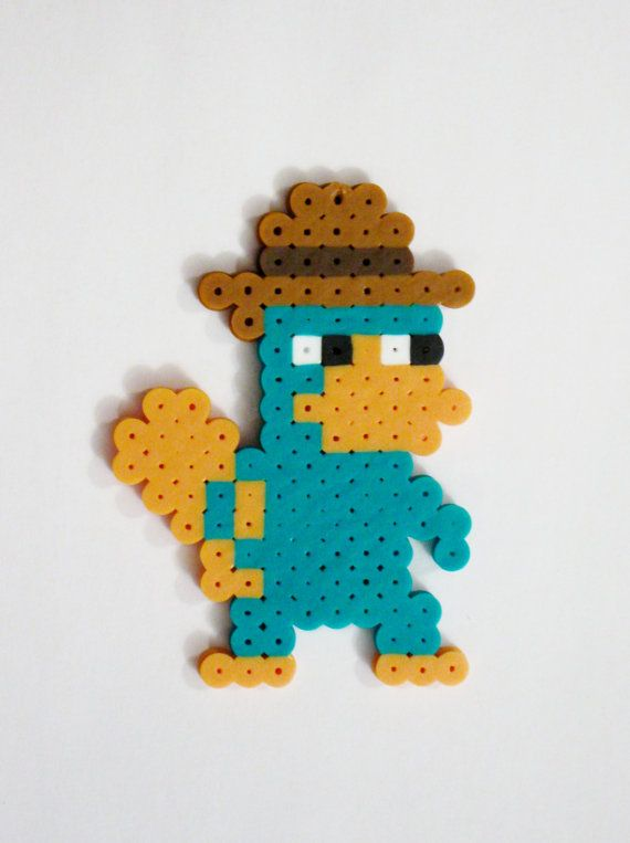 AGENT P from Disney's Phineas and Ferb cartoon // Perry the Platypus // Perler Beads // Magnet, Keychain, Pin // (pick your finish)