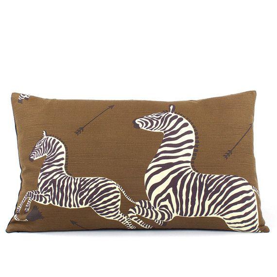 Scalamandre Brown Zebra Lumbar Pillow Cover Toss Pillow