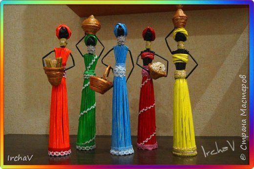 Поделка изделие Плетение Африканки Бумага фото 2