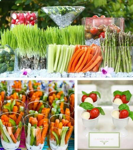Can't go wrong with a fresh veggie bar!  Gather all of the favorites and then go wild with all kinds of dips!  Adding Caprese Salad Skewers is an excellent idea!  Embellish as much as you would like with stuffed peppers…artichoke hearts…olives…crusty bread and more!