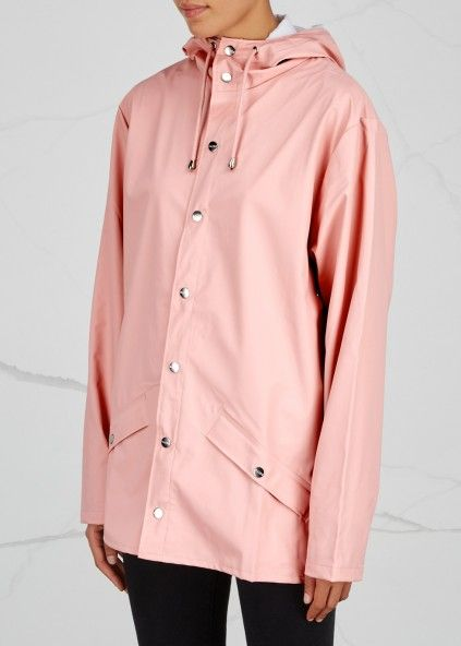 Light pink rubberised raincoat