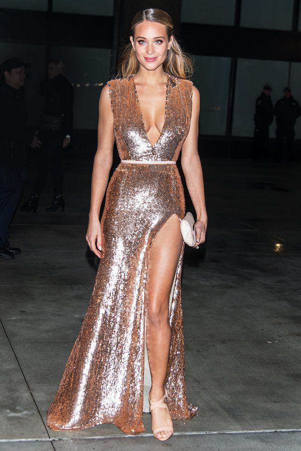 Hannah Graham in a rose gold sequin dress and nude sandals