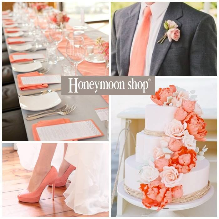 Coral wedding theme www.honeymoonshop.nl