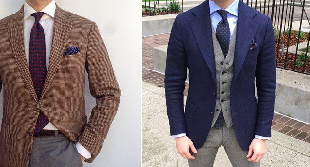 серые брюки и спортивный пиджак