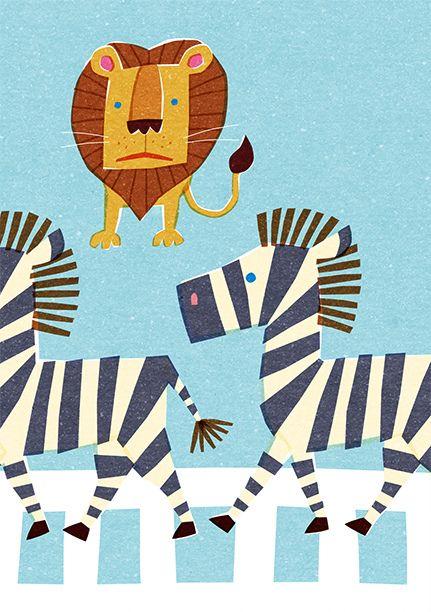 Bright Baby loves zebra crossing, zebra and lion illustration Kids Illustrations #BrightBaby www.bright-baby.com
