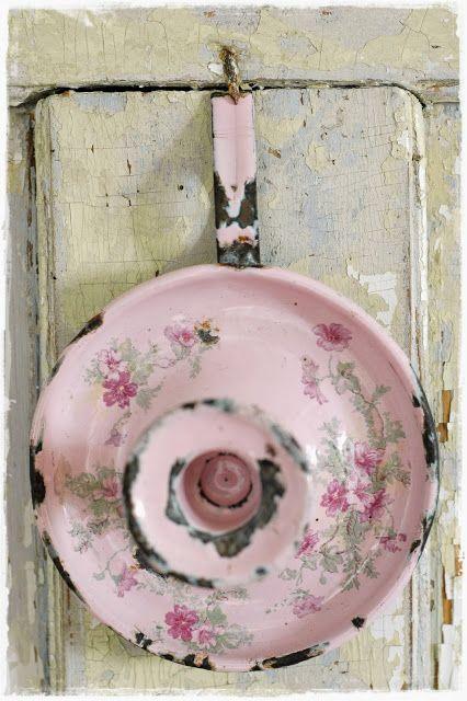 Pink enamelware  candle holder.