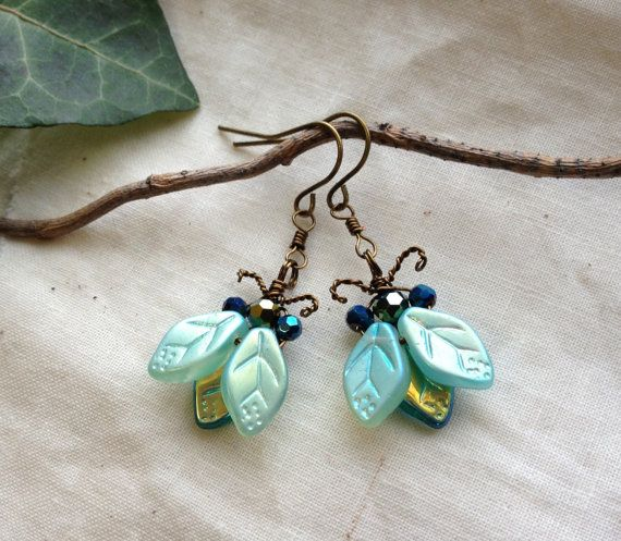 Iridescent Bug/Beetle Earrings Ice Blue/Golden by BaroqueGarden, $45.00