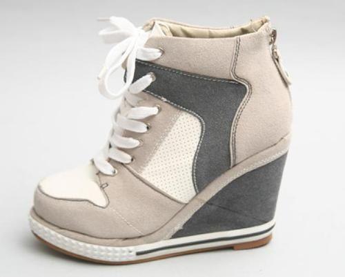 Womens Hightop Lace Up Hidden Heel Sneakers Women High Top Wedge Shoes No 707   eBay