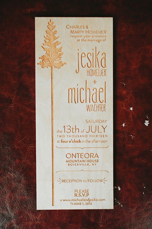 wood wedding invitations by Bullfrog Designs