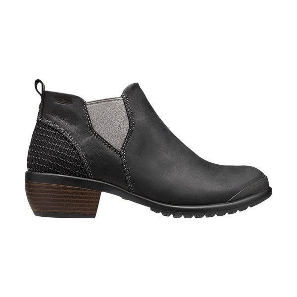 KEEN Footwear - Women's Morrison Chelsea ($130) ❤ liked on Polyvore featuring shoes, boots, ankle booties, stacked heel boots, bootie boots, slip on boots, keen footwear and stacked heel ankle boots