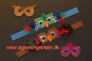 Uglemasker som Agnes Ingersen har lavet for Hobby Nyt - Læs mere om dem på min blog: http://agnesingersen.dk/blog/mine-uglemasker/