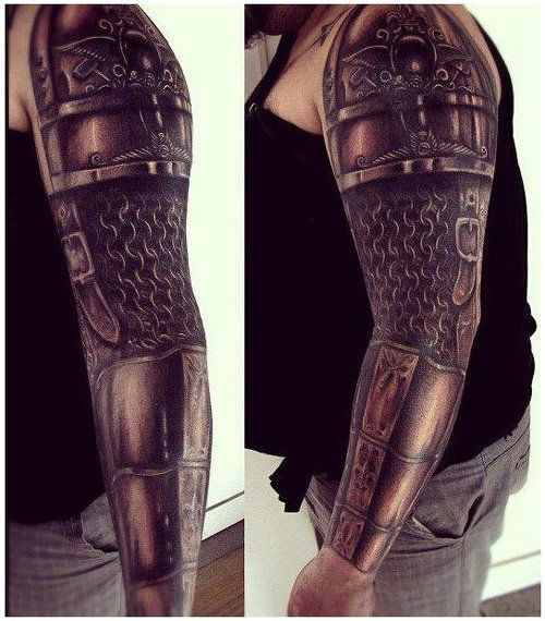 Great armor sleeve by Ezequiel Samuraii. #InkedMagazine #tattoo
