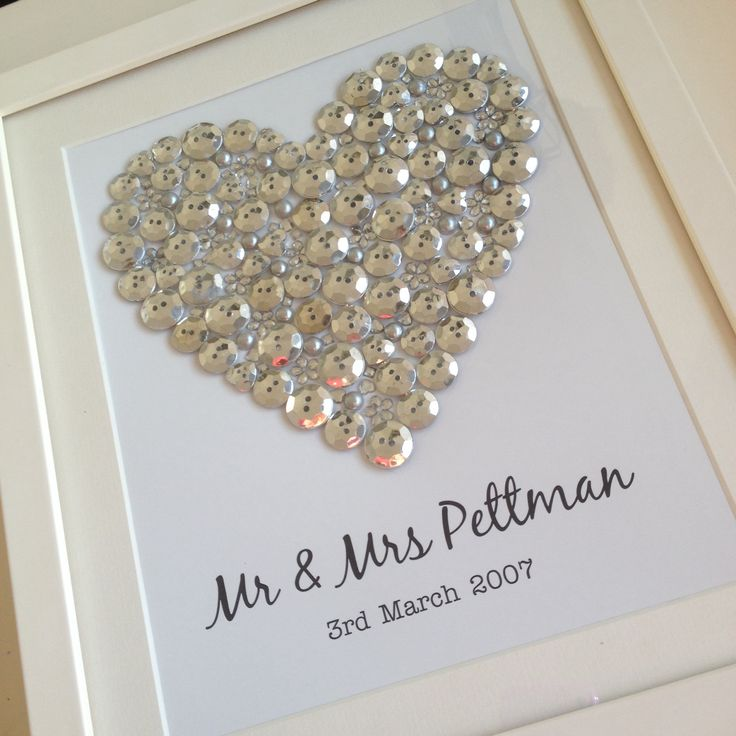 Silver button heart. Great wedding or anniversary gift! Personalise at www.sayitframes.co.uk