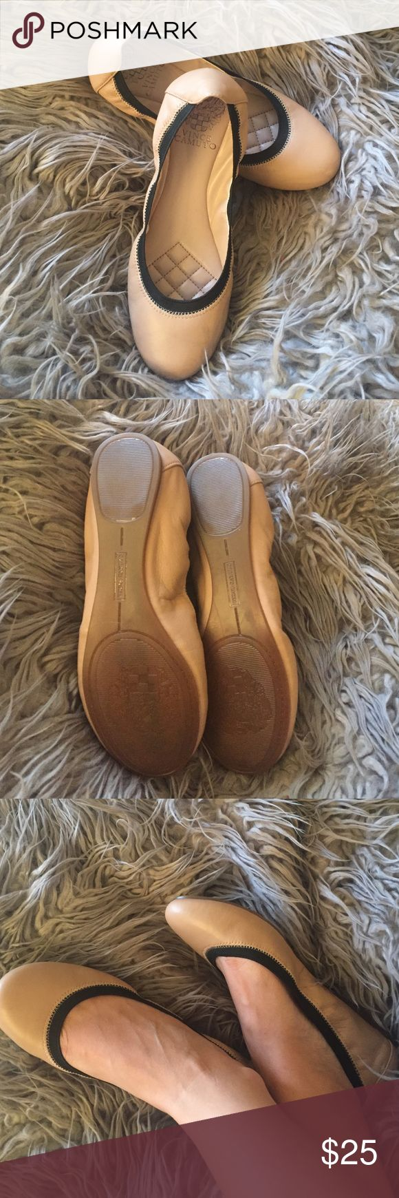 Vince Camuto Eliyah Leather flats sz 6 Beige flats super comfy, never worn. Brand new! Vince Camuto Shoes Flats & Loafers