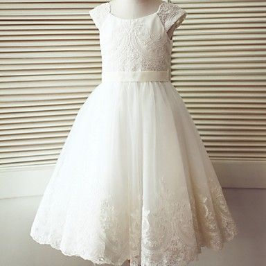 A-line+Tea-length+Flower+Girl+Dress+-+Lace+/+Tulle+Short+Sleeve+Scoop+with+Buttons+–+USD+$+79.99